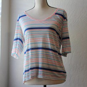 J Crew Size Large Pink Blue and White Shirt